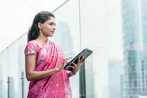 Stok fotoğraf: Iş · kadını · açık · havada · geleneksel · Hint