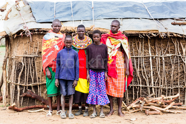 Massai family looking in camera Stock photo © Kzenon