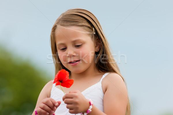 Família menina feliz milho papoula verão céu Foto stock © Kzenon