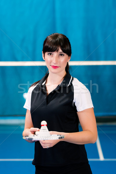 Badminton sport in gym court Stock photo © Kzenon