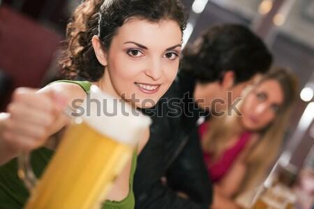Insanlar bar kadın terkedilmiş üzücü grup insanlar Stok fotoğraf © Kzenon