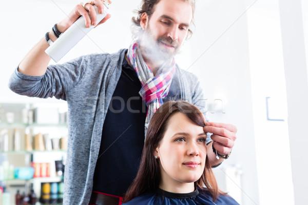 Fodrász nő haj bolt férfi nők Stock fotó © Kzenon