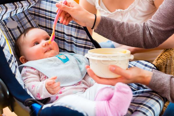 Mutter Ernährung Baby Übung Arbeit Gesundheit Stock foto © Kzenon