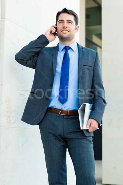 Affaires extérieur téléphone élégant gestionnaire parler Photo stock © Kzenon