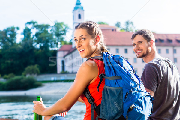 Couple hiking at Danube Weltenburg monastery Stock photo © Kzenon