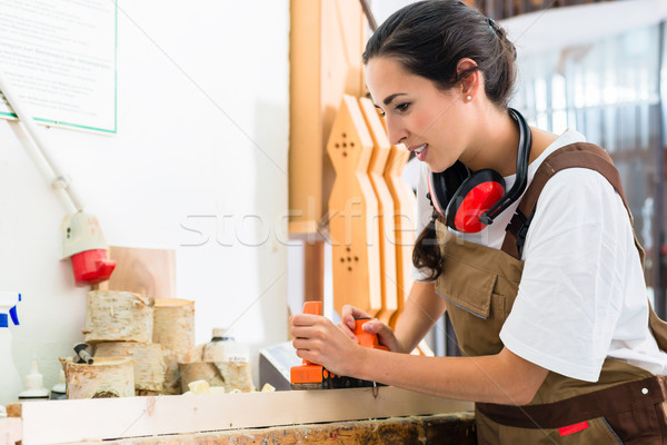 Carpenter woman working with planer in her workshop Stock photo © Kzenon