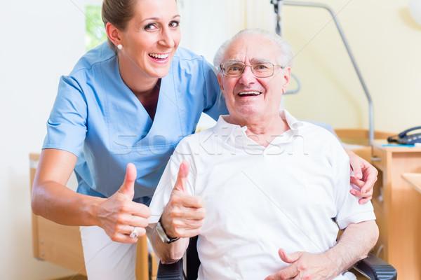 Idős aggkor nővér öregek otthona férfi otthon Stock fotó © Kzenon