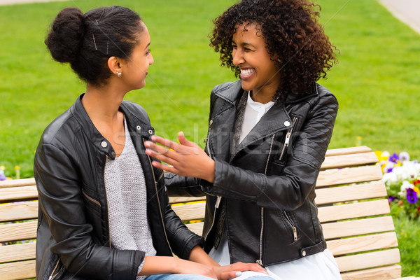Best friends talking and having fun in park  Stock photo © Kzenon