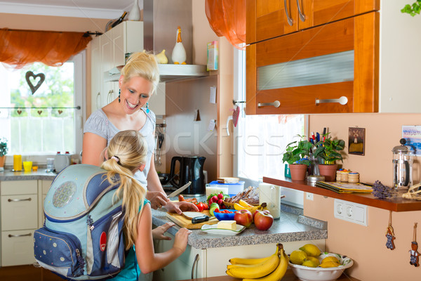 Family - mother making breakfast for school Stock photo © Kzenon