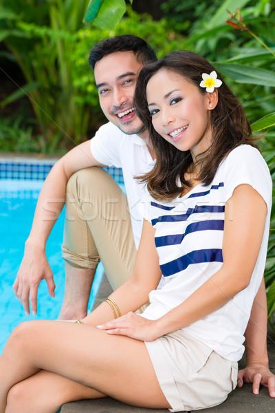 Asian couple outdoor in the garden Stock photo © Kzenon