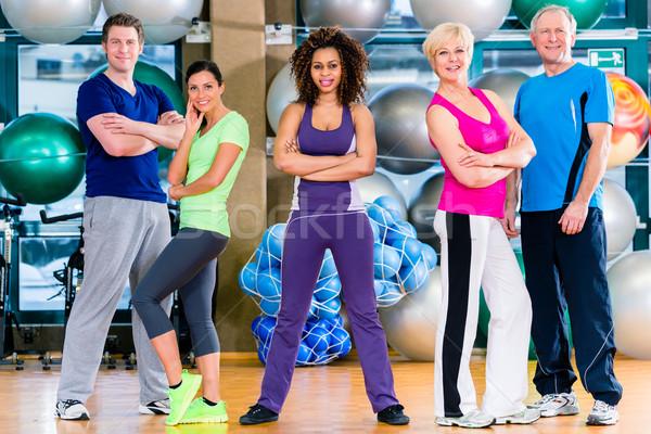 çeşitlilik grup spor salonu spor jimnastik eğitim Stok fotoğraf © Kzenon