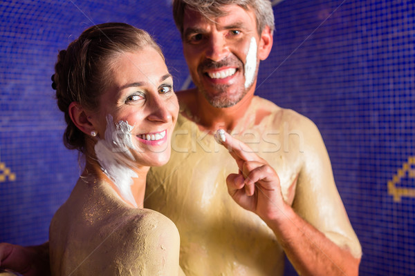 Couple at Rasul bath in wellness spa Stock photo © Kzenon