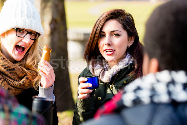 Young female friends drinking a hot beverage outdoors in winter Stock photo © Kzenon
