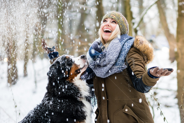 Woman walking her dog in the winter and both explore the snow to Stock photo © Kzenon