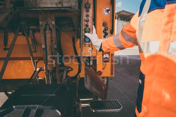 работник отходов автомобиль мусора удаление оранжевый Сток-фото © Kzenon