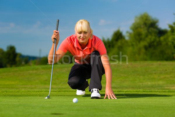 Foto stock: Jovem · feminino · jogador · de · golfe · mulher · esportes · verão