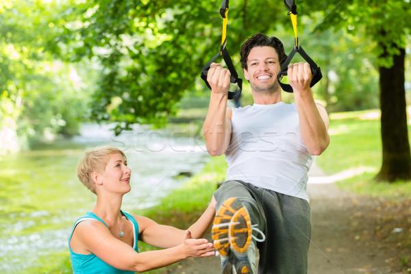 Stock fotó: Emberek · felfüggesztés · csúzli · edző · fitnessz · fiatal