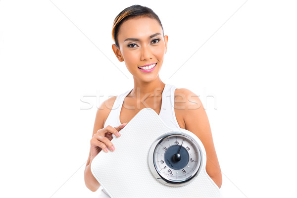 Asian woman losing weight with diet Stock photo © Kzenon