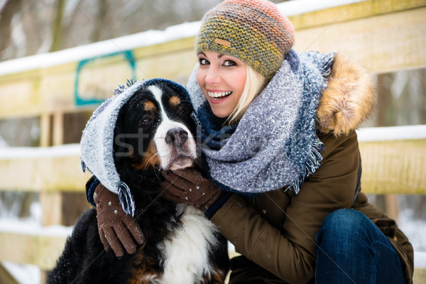 Woman playing with her dog in the snow Stock photo © Kzenon