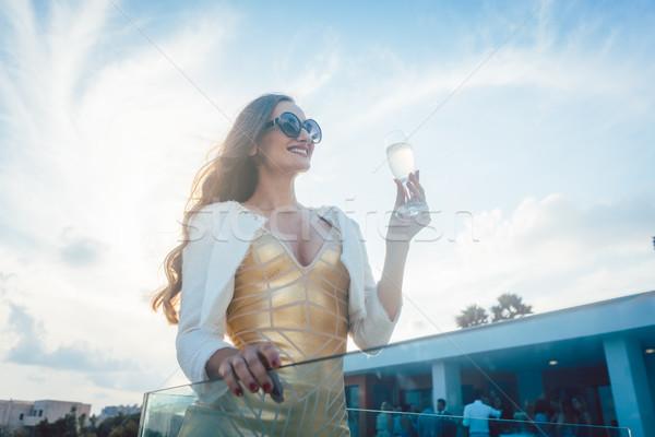 Femme champagne été fête villa maison Photo stock © Kzenon