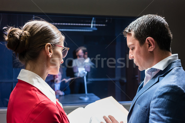 Stock photo: Two police detectives analyzing the files of a criminal case