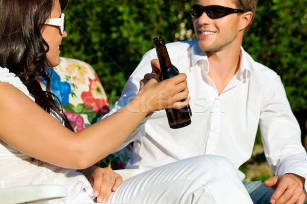 Couple drinking beer in summer Stock photo © Kzenon