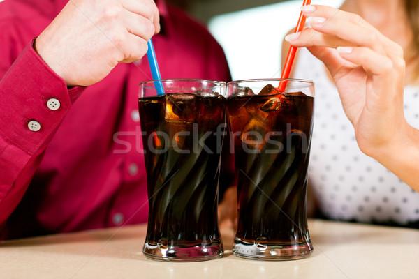 Pareja potable sosa bar restaurante torso Foto stock © Kzenon
