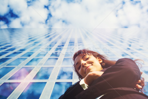 Business woman in front of office building Stock photo © Kzenon