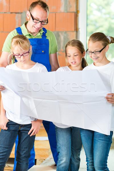 Familiy viewing home contruction site Stock photo © Kzenon