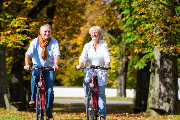 Senioren Fahrräder Tour Park Mann Stock foto © Kzenon