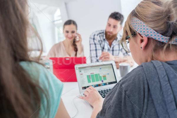 Active female entrepreneur talking on mobile at a shared desk Stock photo © Kzenon