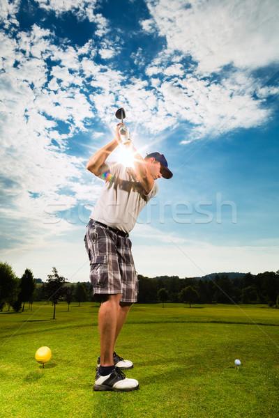 Сток-фото: молодые · гольф · Swing · человека · спорт