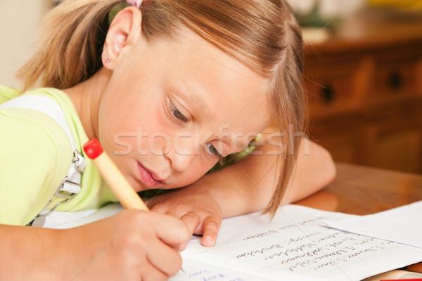Kind Hausaufgaben Schule schriftlich Stock foto © Kzenon
