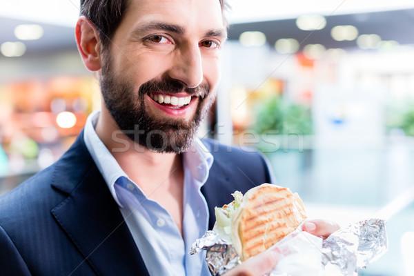 Man eating Doner Kebap Stock photo © Kzenon