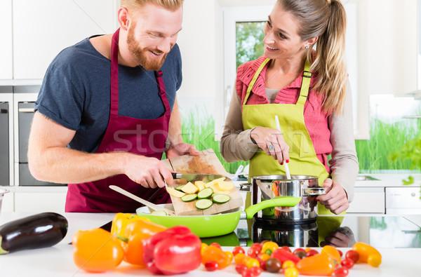 男 女性 料理 ベジタリアン 皿 一緒に ストックフォト © Kzenon