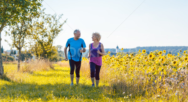 Two healthy senior people jogging on a country road in summer Stock photo © Kzenon