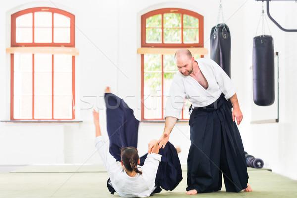 Adam kadın kavga aikido dövüş sanatları okul Stok fotoğraf © Kzenon