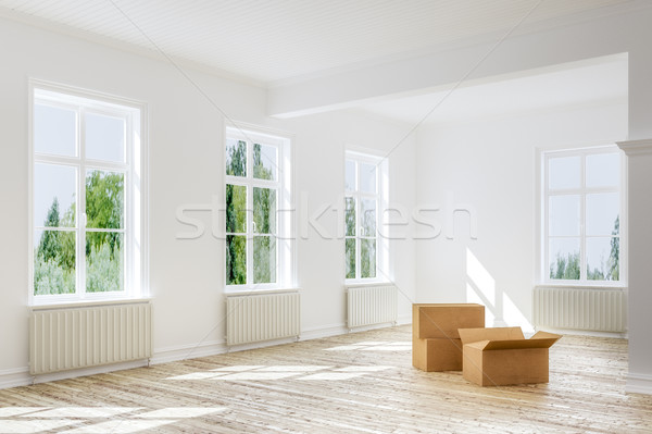 Moving in or out - empty boxes on floor of apartment Stock photo © Kzenon