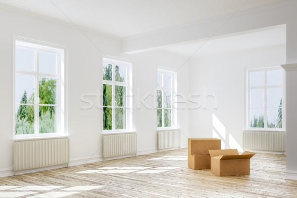 Bewegende uit lege dozen vloer appartement Stockfoto © Kzenon