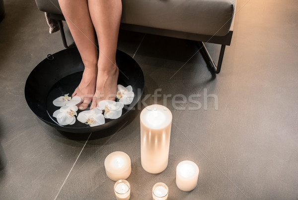 Stock photo: Female feet during Asian therapeutic washing at luxury beauty ce