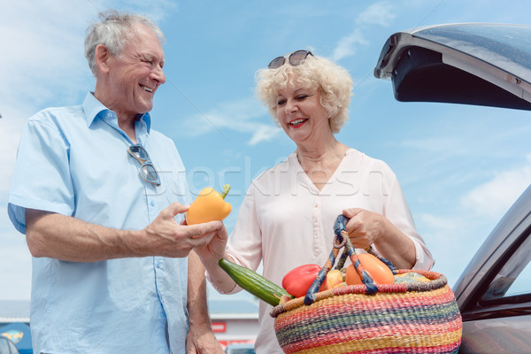 Cheerful senior couple happy for buying fresh vegetables from th Stock photo © Kzenon