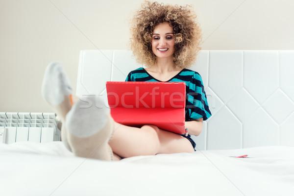 Happy self-employed woman or telecommuter Stock photo © Kzenon