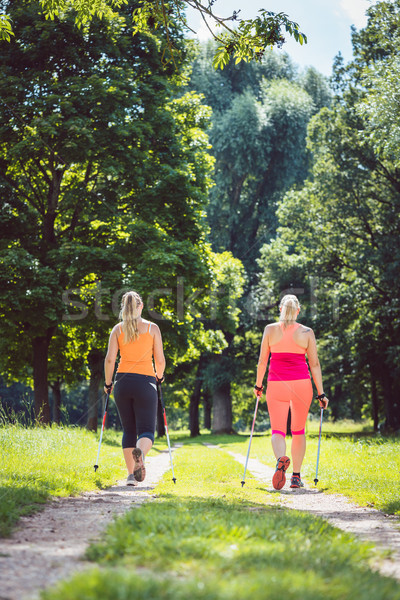 Anya lánygyermek északi sétál jobb fitnessz Stock fotó © Kzenon