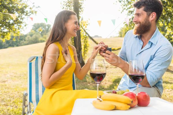 若い女性 喜び 感情 結婚 提案 美しい ストックフォト © Kzenon