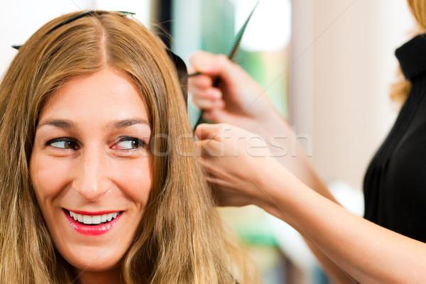 Fodrász nő új haj szín kéz Stock fotó © Kzenon