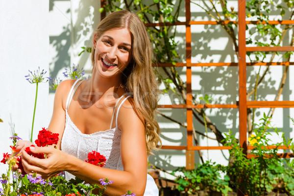 Nő kertész néz virágok kert virág Stock fotó © Kzenon