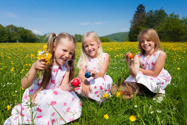Enfants easter egg hunt oeufs prairie printemps Pâques Photo stock © Kzenon