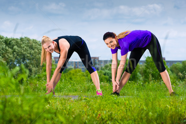 Sports outdoor - young women doing fitness in park Stock photo © Kzenon