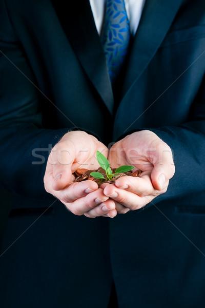 ビジネスマン 苗 手 マネージャ スーツ ストックフォト © Kzenon