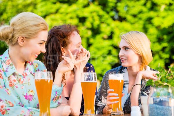 Arkadaşlar bira bahçe birahane sevmek Stok fotoğraf © Kzenon